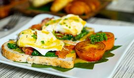 Close up eggs benedict stock images