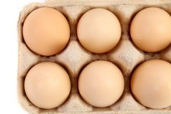 Close up of eggs in box. Royalty Free Stock Images