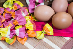 Close up of eggs with colorful Italian pasta Stock Images
