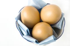 Close up eggs on pan Stock Image
