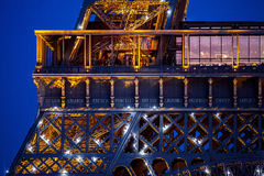 Close-up of Eiffel Tower in evening dusk Stock Image