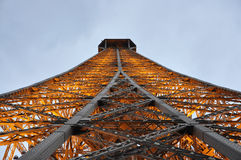 Close up Eiffel Tower by night from Paris in France Stock Photos