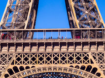 Close up of Eiffel tower under blue sky Royalty Free Stock Photo