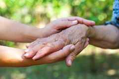 Shaking elderly hand Royalty Free Stock Photos