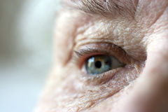 Close up on elderly ladies eye and wrinkles
