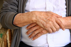 Close up of elderly male hands Stock Image