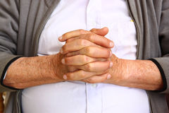 Close up of elderly male hands Royalty Free Stock Images