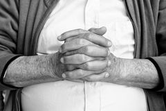 Close up of elderly male hands . black and white photo Royalty Free Stock Photos