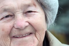 Close-up of an elderly woman stock images
