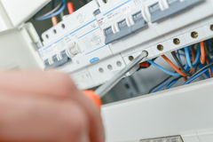 Close up electric fuse box. Close up of electric fuse box royalty free stock photo