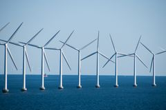 Close-up of an electric generating wind farm in the Baltic Sea b. Etween Germany and Denmark stock images