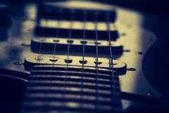 Close up of electric guitar element Royalty Free Stock Images