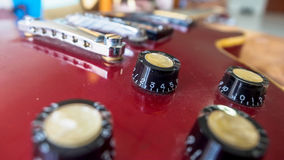 Close up of electric guitar volume knob Royalty Free Stock Image