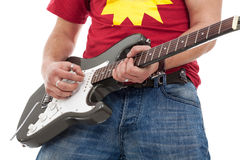 Close up of electric guitarist Royalty Free Stock Image