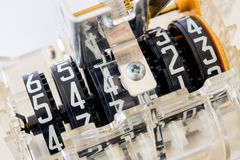 Close-up of electric meter dial parts Royalty Free Stock Image