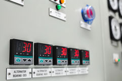 Close up of an Electric meter,Electric utility meters for an apartment complex or offshore oil and gas plant. Stock Image