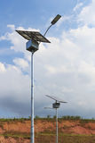 Close up of electric pole with Solar panel, use of Solar energy Royalty Free Stock Images