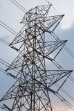 Close up of Electric Transmission Tower. With sky stock image