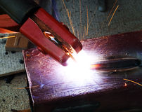 Close up of electric welding Royalty Free Stock Photo