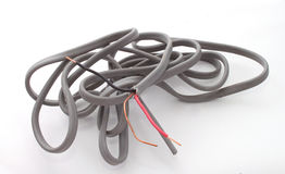 Close up of electric wire. On a plain white background Stock Photos