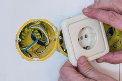 Close up electrical distribution system installation in new buil Royalty Free Stock Photo
