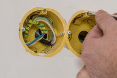 Close up electrical distribution system installation in new buil Stock Image