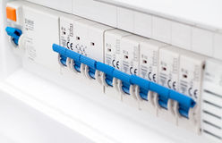 Close-up of electrical fusebox Royalty Free Stock Photography
