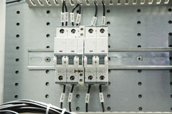 Close-up of electrical fusebox Royalty Free Stock Images