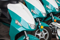 Close up electrical motorcycle. Innovation in Thailand stock image