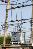 Close up Electrical power transformer Royalty Free Stock Photos