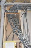 Electrical wiring. Electric wire installation in house. Close up on Electrical wiring. Electric wire installation in house Stock Photos