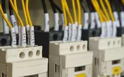 Close-up electrical wiring with fuses and contactors. Royalty Free Stock Photo
