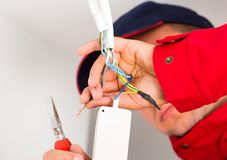 Close-up of Electrician During Work Stock Photography