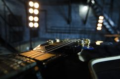 Close up electro guitar background. Music instruments. Macro. stock photos