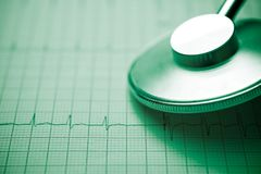 Electrocardiogram and stethoscope. Close up of an electrocardiogram in paper form and a stethoscope stock image