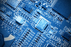 Close-up of electronic circuit board. Macro . Stock Image