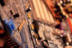 Vintage electronic circuit of a computer Royalty Free Stock Image