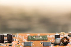 Close up of Electronic Circuits in Technology on   Mainboard background Main board,cpu motherboard,logic board,system board or mo. Close up of Electronic Stock Image