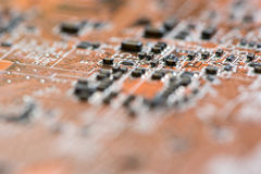 Close up of Electronic Circuits in Technology on   Mainboard background Main board,cpu motherboard,logic board,system board or mo. Close up of Electronic Stock Photo