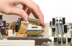 Close up of Electronic Circuits in Technology on   Mainboard background Main board,cpu motherboard,logic board,system board or mo. Close up of Electronic Royalty Free Stock Image