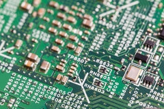 Close up of electronic components on the motherboard, microprocessor chip. Close up of electronic components on the motherboard microprocessor chip Royalty Free Stock Images