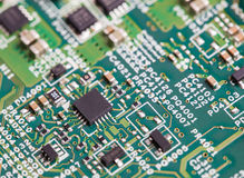 Close up of electronic components on the motherboard, microprocessor chip. Close up of electronic components on the motherboard microprocessor chip Royalty Free Stock Photos