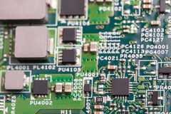 Close up of electronic components on the motherboard, microprocessor chip Royalty Free Stock Image
