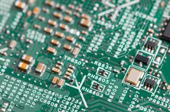 Close up of electronic components on the motherboard, microprocessor chip. Close up of electronic components on the motherboard microprocessor chip Royalty Free Stock Image