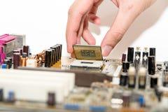Close up of electronics circuit board A mainboard  Main board,cpu motherboard,logic board,system board or mobo board Stock Photo