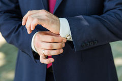 Close-up of elegance male hands Royalty Free Stock Image