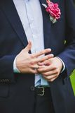 Close-up of elegance man hands with ring Royalty Free Stock Images
