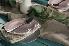 Elegance table setting on table. Close-up of elegance table setting on table Royalty Free Stock Photos