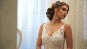 Close-up of elegant bride in wedding dress stock video footage