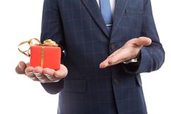 Close-up of elegant lover holding present stock image